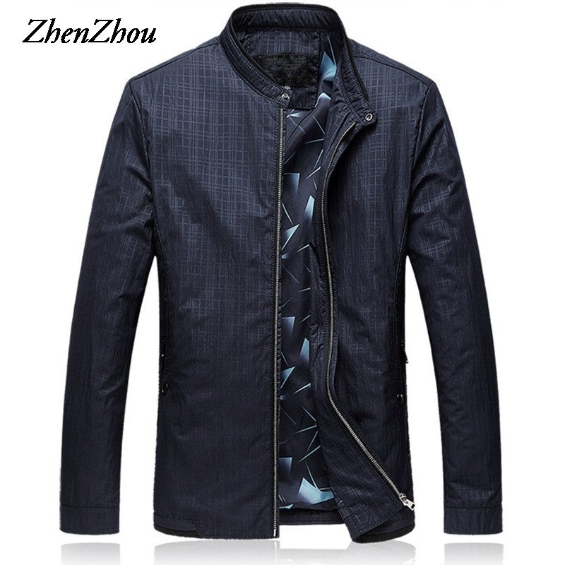 Mens Jackets 2019  Business Jacket Men L-6XL Plus Size Mens Jackets And Coats Plaid Slim Fit Casual Bomber Jacket Men