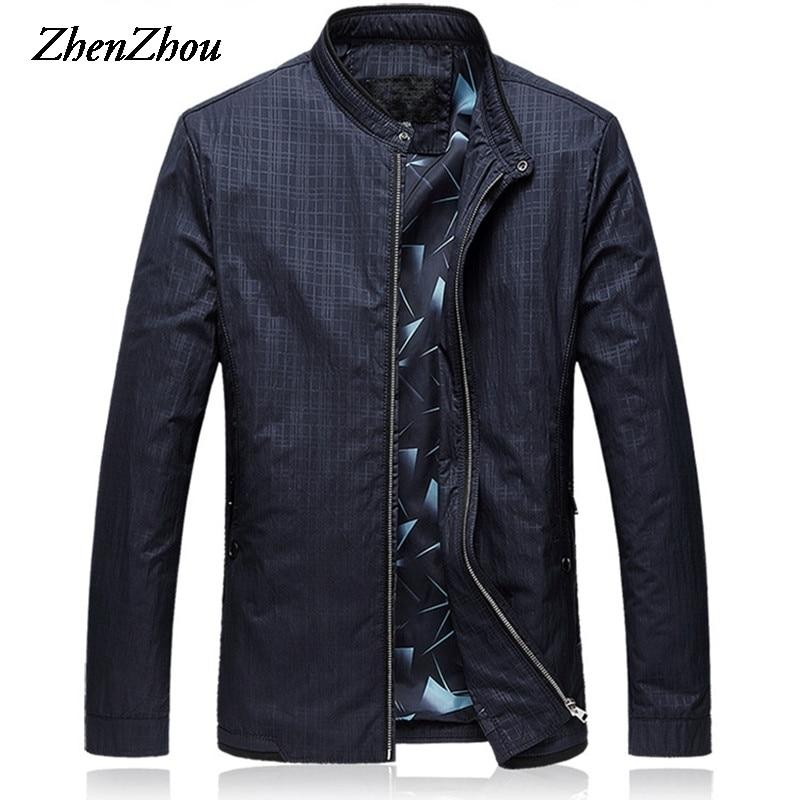 Mens Jackets 2019  Business Jacket Men L-6XL Plus Size Mens Jackets And Coats Plaid Slim Fit Casual Bomber Jacket Men