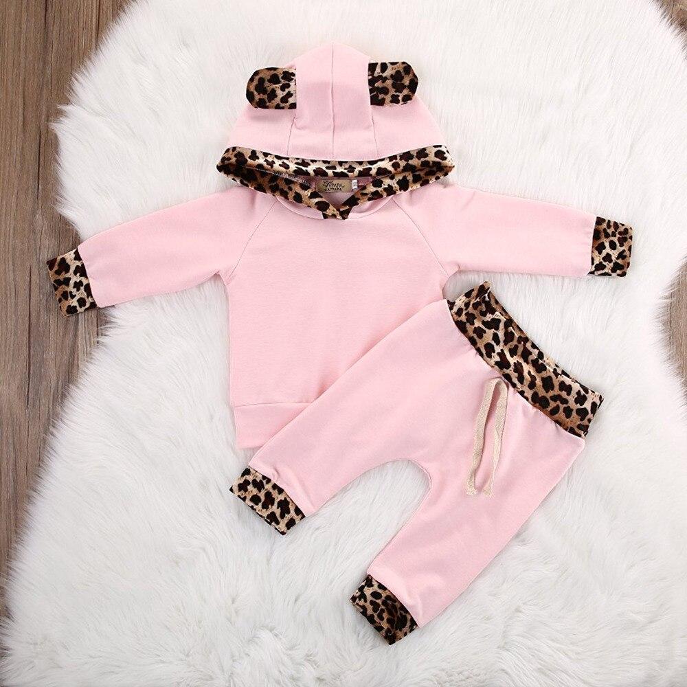 Newborn Baby Girls Pink Leopard Bluza z kapturem z długim rękawem - Odzież dla niemowląt - Zdjęcie 2
