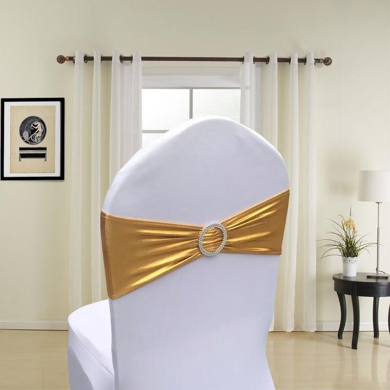 200pcs Metallic Gold Silver Spandex Lycra Chair Sashes Bands Royal Blue Purple Pink Chair Cover Sash