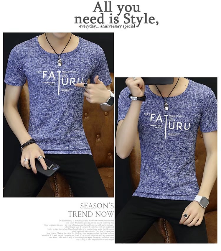 Spring 100% Cotton Casual Short Sleeve Rose Printing Men T Shirt O-neck Knitted Comfortable Fabric Street Style Men T-shirt 59