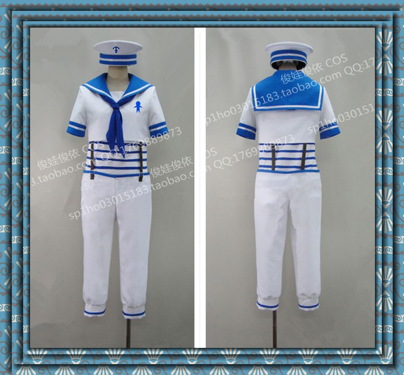 Free Iwatobi Swim Club Cosplay Haruka Nanase Cosplay White Mens Sailor Uniform Free Iwatobi Swim Club Cosplay Costume