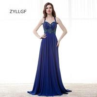 ZYLLGF Royal Blue Bridesmaid Gowns Long Sweetheat Chiffon Vestido De Festa Longo De Luxo Crystal Beaded Bridesmaid Dress Q137