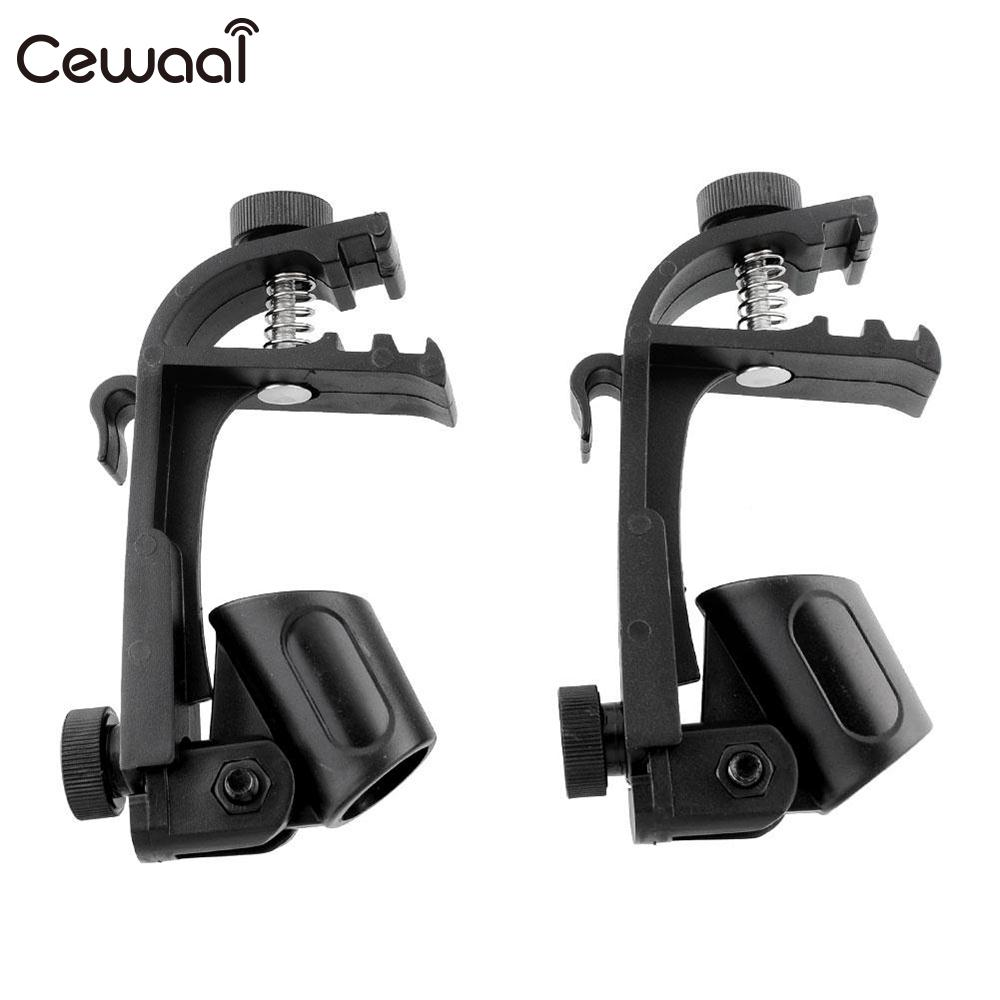 Cewaal 2pcs Adjustable Microphone Clamp Clip Stage Drum Shockproof Mic Mount Holder Music Rim Stand Studio Black Microfone