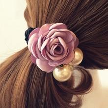 1000pcs/lot Fashion Pearl Flower Hair Bands for Women Girls Three Pearls Decor Elastic Ponytail Headband