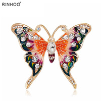 Rinhoo Beautiful pink Butterfly Small Insect Brooch Pins Animal Brooches for Women Decoration Jewelry Accessories For Women Girl