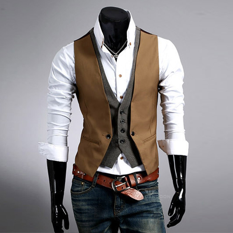 2017 Men's Fashion Fake two pieces Self-cultivation Man Vest men Spelling Color Horse clip Single Breasted Regular Button