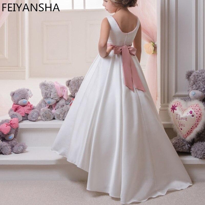 White First Communion Dresses Formal A-line Long Sleeve O-Neck Flower Girl Dresses With Bow Sash Vestidos De Comunion Para Ninas