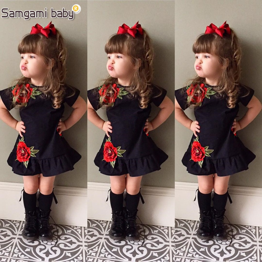 SAMGAMI BABY New Embroider Design Black Short Sleeve Dresses Fashion Cute Girls Clothes Summer Toddler Girl Dresses Size 80-120 girl