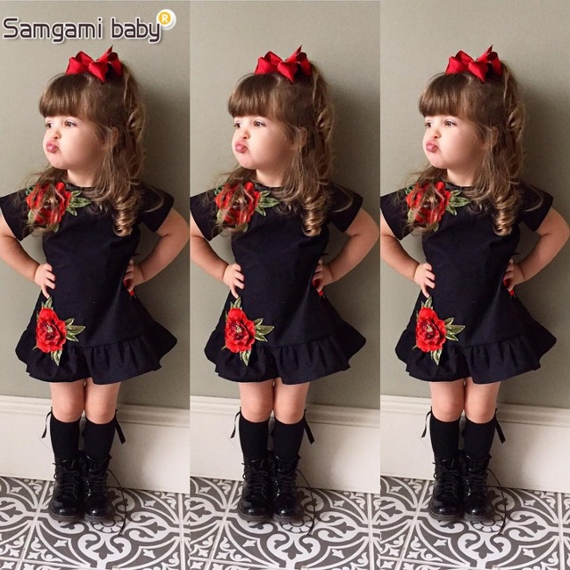8084c33ab1a32 SAMGAMI BABY New Embroider Design Black Short Sleeve Dresses Fashion Cute  Girls Clothes Summer Toddler Girl Dresses Size 80-120