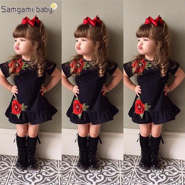 SAMGAMI bebé nuevo bordado Diseño negro vestidos de manga