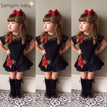 SAMGAMI BABY New Embroider Design Black Short Sleeve Dresses Fashion Cute Girls Clothes Summer Toddler Girl Dresses Size 80-120