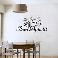 Bon Appetit Chef With Meal Wall Sticker Cartoon Removable Vinyl Art Wall Decals Decorative For Dining