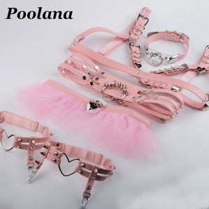 Image 2 - 1 juego = 6 piezas de ropa de Cosplay, Collar de Gargantilla Kawaii Lolita, arnés, sujetador de cuero PU, cinturón de cintura, tutú, liguero con incrustaciones de volantes, cinturones