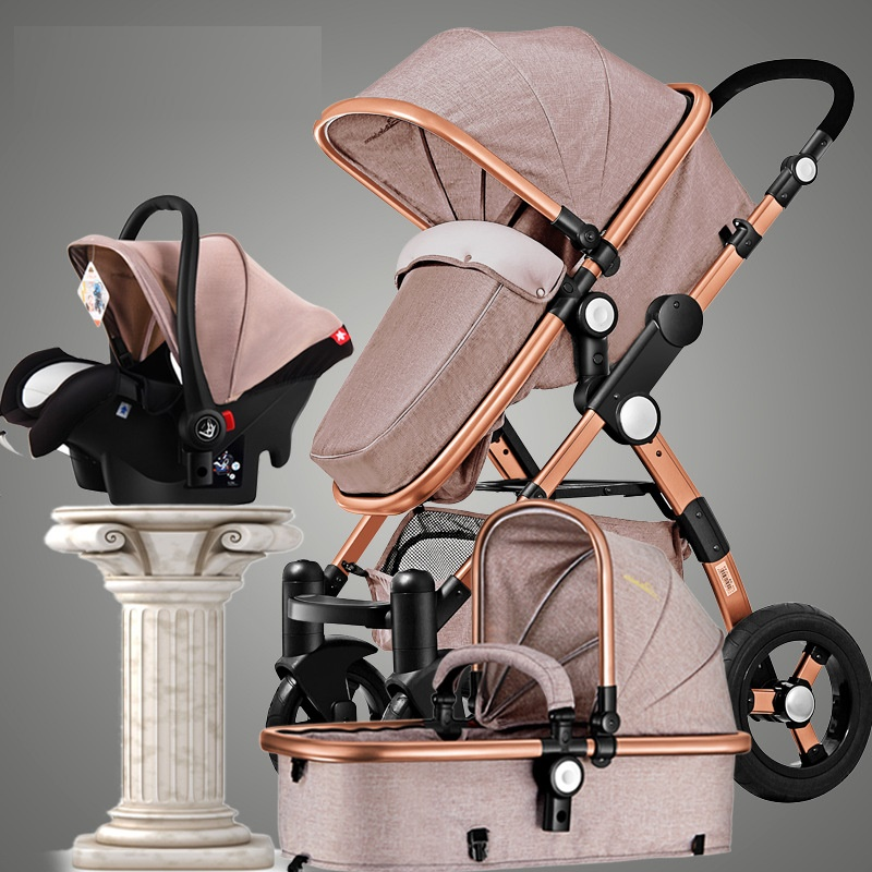 Europe and RU Free Tax Stroller 3 in 1 luxury umbrella baby strollers Portable Folding strollers can sit can down baby trolley newborn baby stroller 3 in 1 portable folding strollers sit and lie four wheels 2017 convience prams umbrella stroller 0 3years
