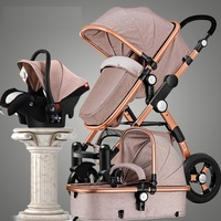 Europe and RU Free Tax Stroller 3 in 1 luxury umbrella baby strollers Portable Folding strollers can sit can down baby trolley