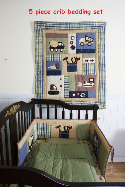 5pieces Crib Infant Room Kids Baby Bedroom Set Nursery Bedding cotton  patchwork cot bedding set for newborn baby boy girl