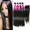 7A Brazilian Straight Hair With Closure Brazilian Virgin Hair Straight 4 Bundles With Closure Mink Brazilian Hair Weave Bundles