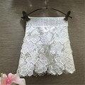2016 meninas do bebê moda branco Floral Lace saias cintura elástica rebite criança Mini saia de fadas da princesa desgaste