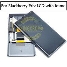100% original para blackberry priv display lcd tela de toque digitador assembléia com moldura peças reposição frete grátis
