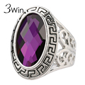 3Win Oval Faceted Glass Rings for Women 5 Colors Unique Vintage Bohemia Purple Big Ethnic Europe Metallic Party Jewelry Anel