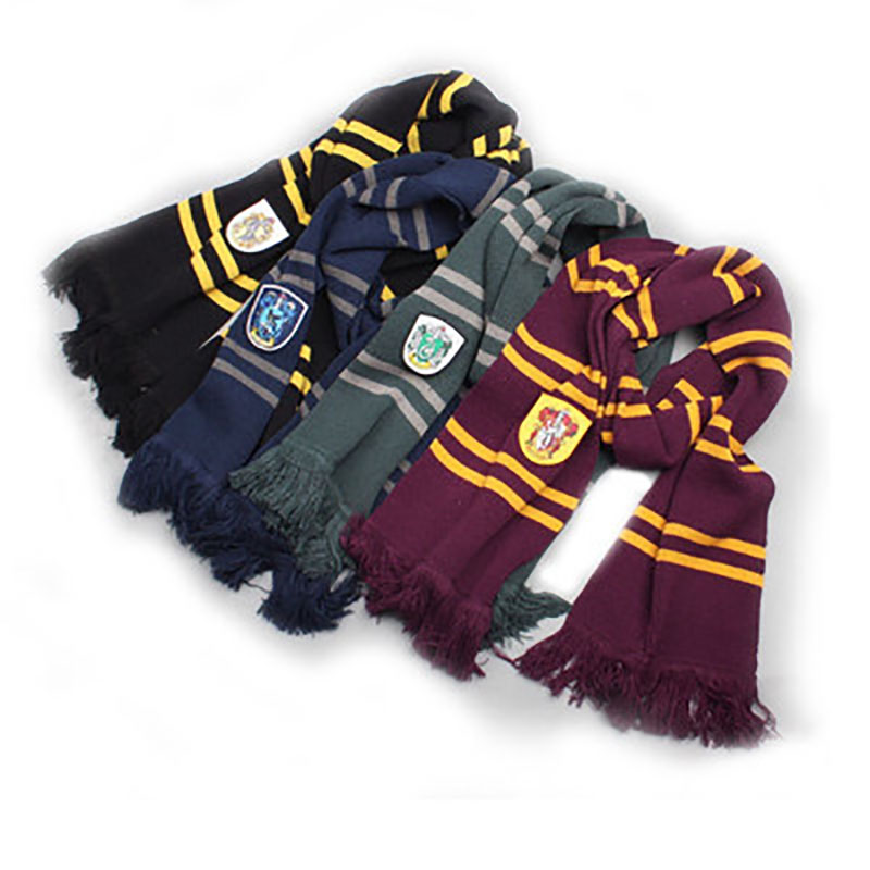 Magic School Tassel Striped Harry Potter Scarf Cosplay Costumes Gryffindor Thicken Neckerchief Harry Potter Accessory Stage Prop