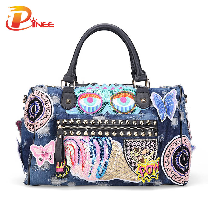 New  Women Luggage Travel Bags Cute Cartoon Daypack Denim Bags Handbags Fashion