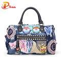 New 2016 Women Luggage Travel Bags Cute Cartoon Daypack Denim Bags Handbags Fashion Shoulder Bag Female