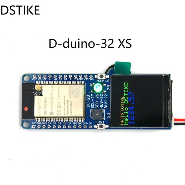 DSTIKE D-duino-32 XS ESP32 Wrover B TFT color LCD Buzzer RGB LED SD card development board  battery charging cp2102 low power