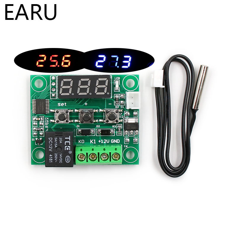 W1209 LED Digital Thermostat Temperature Control Thermometer Thermo Controller Switch Module DC 12V Waterproof NTC Sensor 0 56 red blue dual display digital led thermometer temperature meter waterproof metal probe sensor module 20 100 celsius