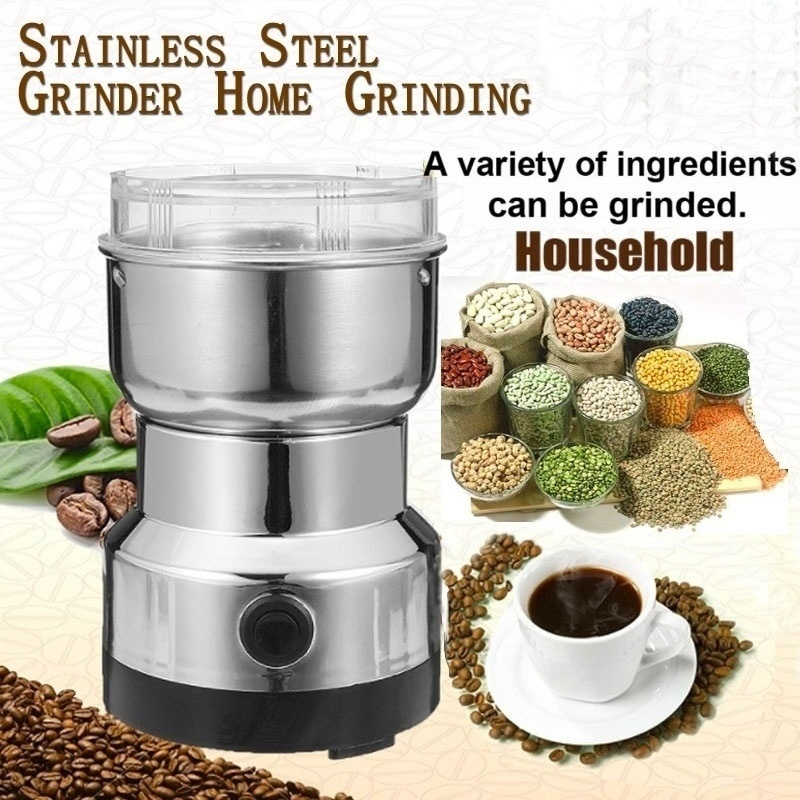 Electric Stainless Steel Coffee Bean Grinder Home Grinding Milling Machine Mill 220V EU Plug Coffee Accessories Kitchenware