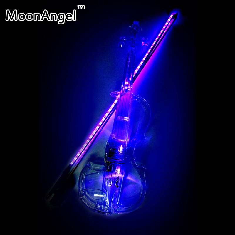 Transparent 4/4 violin LED light Send violin Hard case electric violin with colorful power lines and violin parts For Lover brand new handmade colorful electric acoustic violin violino 4 4 violin bow case perfect sound