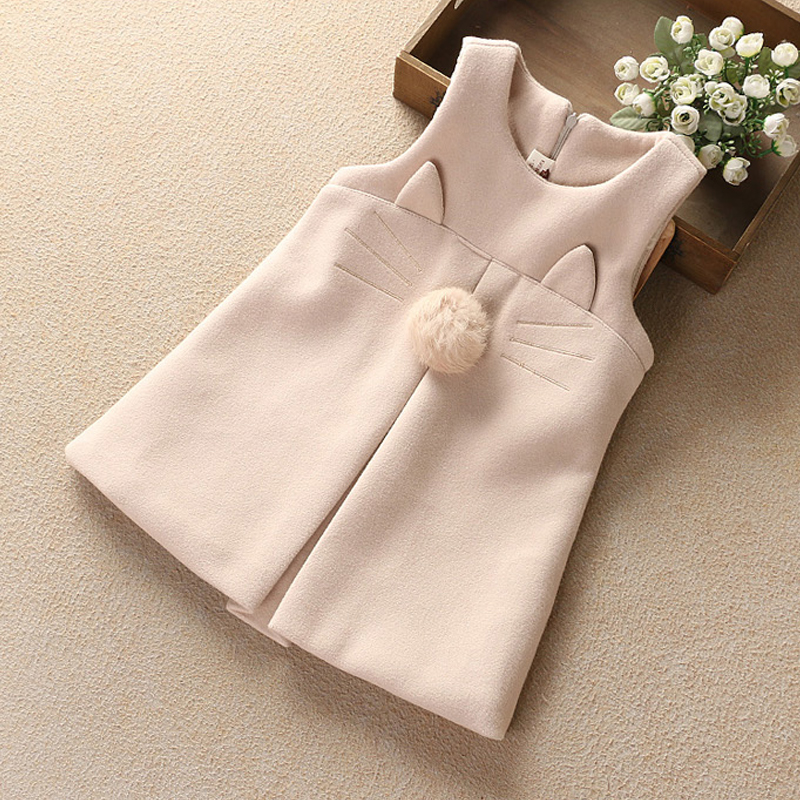 2018 Girls vest dress spring autumn and winter woolen vest dress Korean version of the girls woolen child baby princess dress new the spring of 2018 women s clothing sequins lapel eagle decals gauze falbala vest dress