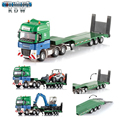 KAIDIWEI 1:50  Low loader with Excavator Engineering Vehicle Diecasts & Toy Vehicles Alloy car model Brinquedos Boys Gift