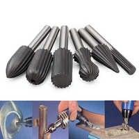 YEODA 6pcs/set Bearing Steel Burr Milling Cutter 6mm Shank Dremel Rotary Tools Electric Grinding Metal Graver Tool Accessories