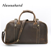 NEWEEKEND Retro Genuine Leather Lichee Pattern Smooth Anti-Scratch Cowhide Big Crossbody Travel Luggage Bag Handbag for Man 1036