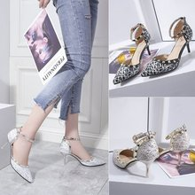 Women Pumps High Heels Shoes Patent Leather Pointed Toe Buckle Strap Classic Ankle Party Office Sandals