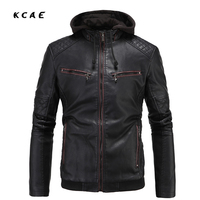 New Black Hooded Leather Jacket Men Slim Punk Fashion Motorcycle Jacket Men PU Zipper Jackets
