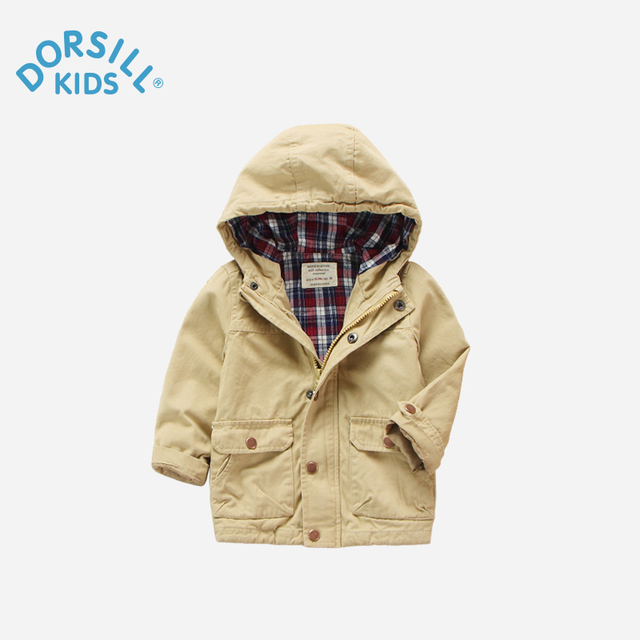 Dorsill Hooded boy Coat New Fashion Spring and Autumn Trench Solid Zipper Children's Korean Windbreaker
