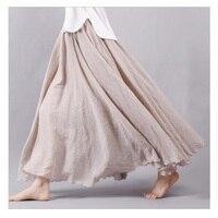 2016 Fashion Brand Women Linen Cotton Long Skirts Elastic Waist Pleated Maxi Skirts Beach Boho Vintage