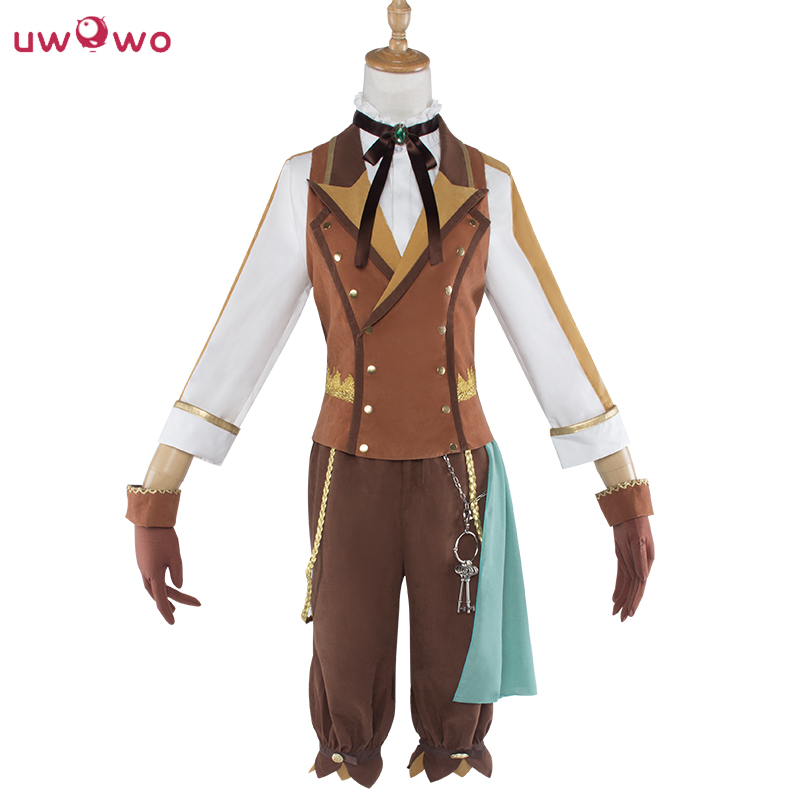 UWOWO Kagamine Len Cosplay VOCALOID Renaissance Brown Satin Costume Women Men Full Set