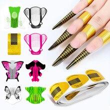 цена 100pcs Nail Form 10 Styles Nail Art Acrylic UV Gel Tips Extension Builder Forms Guide Stencil Manicure Nail Art Beauty Tools F10 онлайн в 2017 году