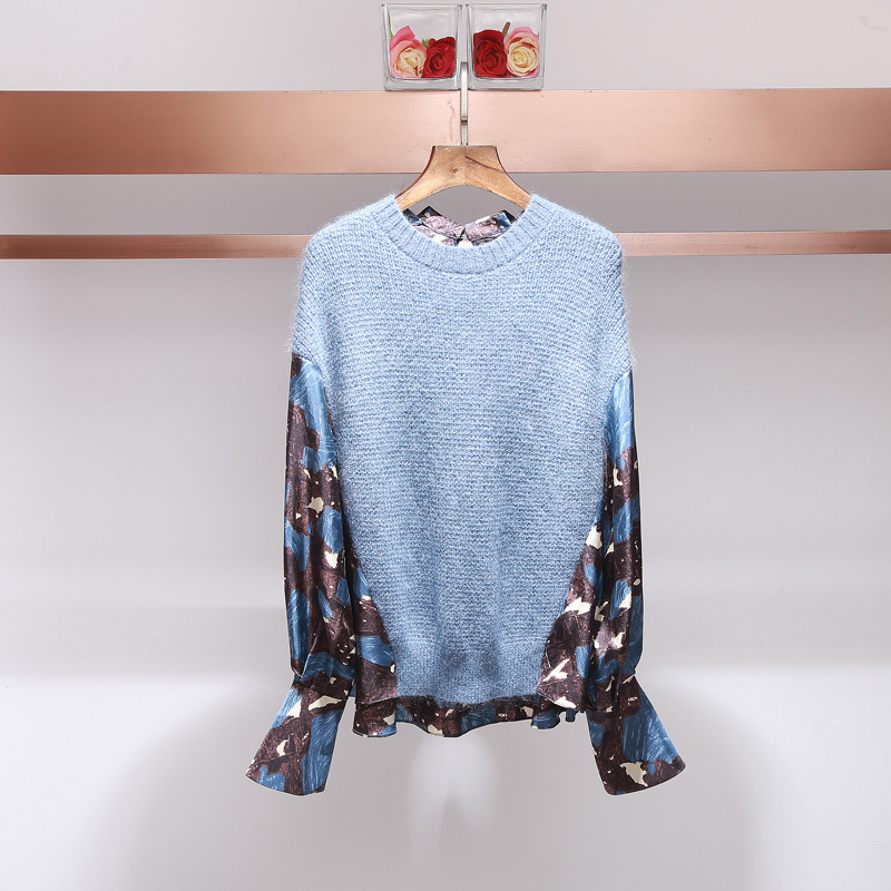 XIANGSHI Women High Quality Wool Sweater Stitching Floral Printed