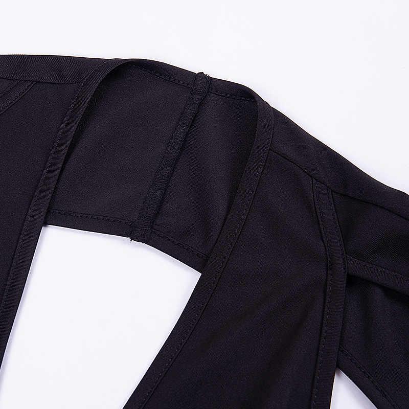Криптографических хлопка Глубокий V шеи сексуальный костюм с открытой спиной Bodycon длинным рукавом Мода тела вечерние Club Комбинезоны Спецодежда для Для женщин