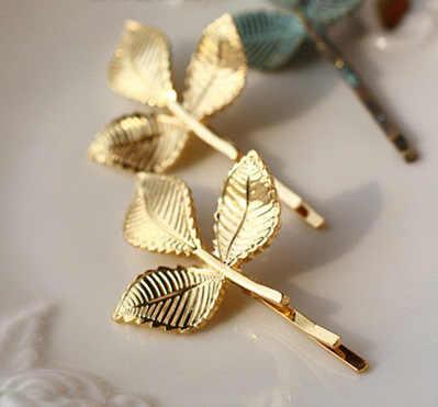 Европейские и американские модные ювелирные изделия Золотая Морская звезда свежие листья Ретро стерео Маленькая Шпилька для волос боковая невидимка оптовая продажа ювелирные изделия для волос
