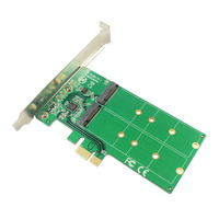 PCI express Dual M.2 SATA SSD Card PCIe to 2 Ports NGFF B + M Key Slot Adapter with PCI e Low Profile Bracket ASM1061