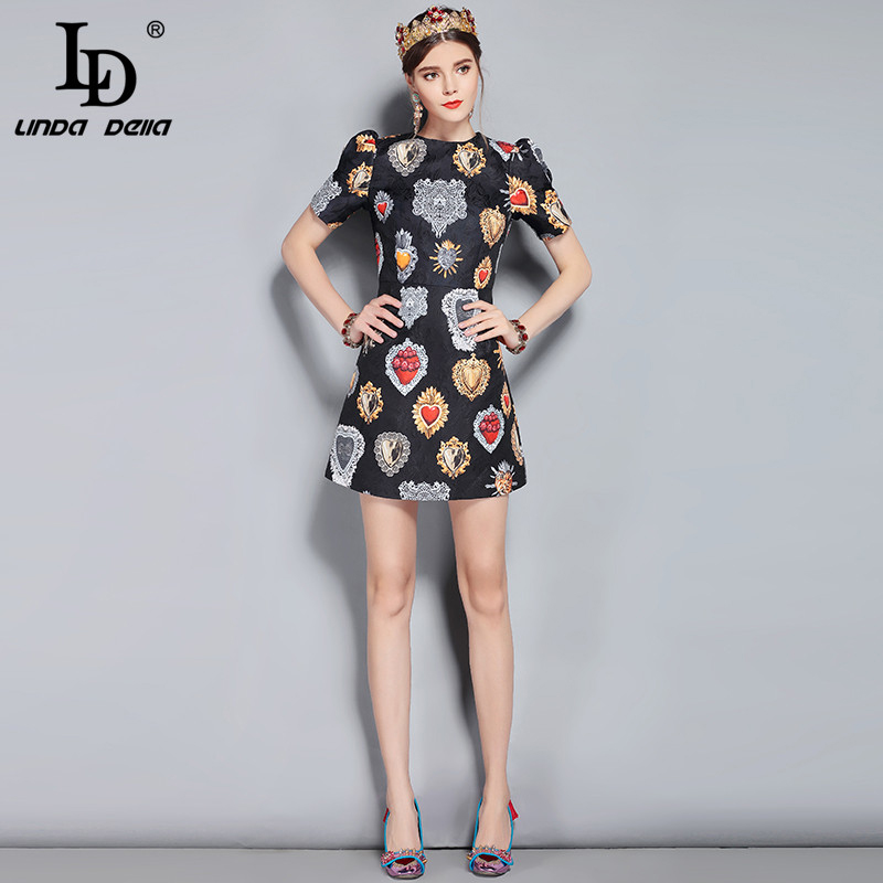 044e384c515cd LD LINDA DELLA New 2018 Fashion Runway Summer Dress Women's Short ...
