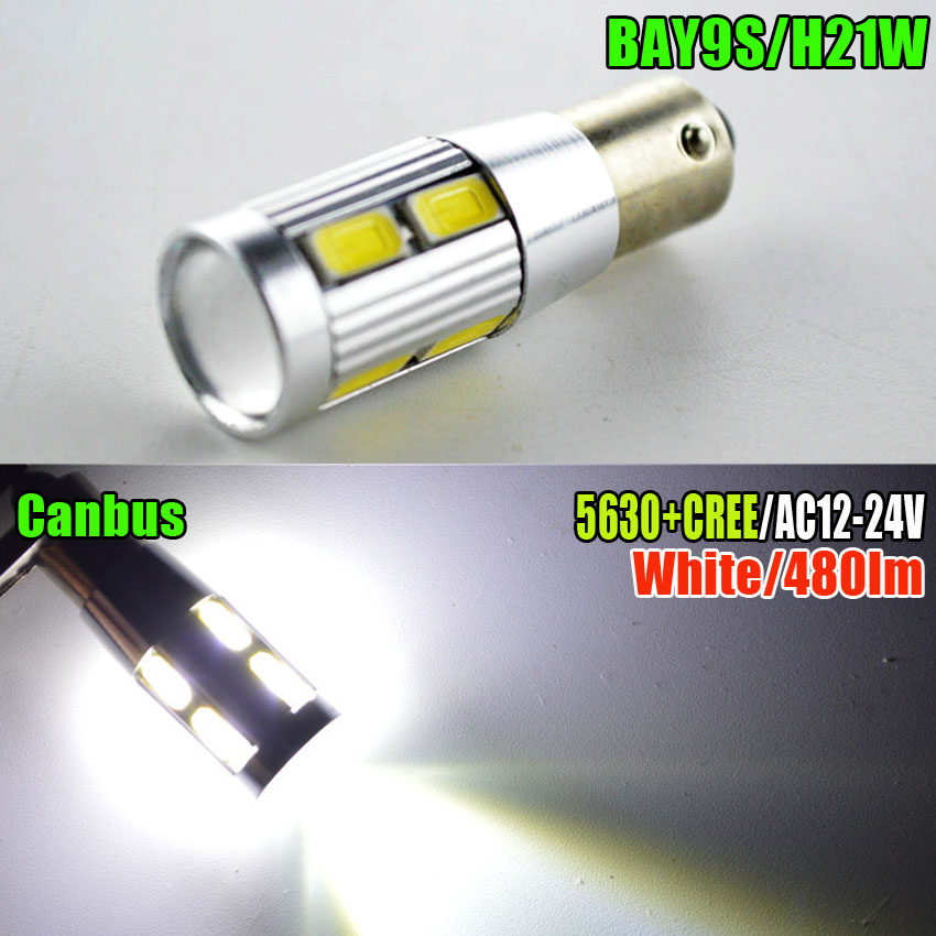 Pair 2xHigh Power Canbus Error Free 120 Degree Bay9s H21W 8 5630+XBD LED Light Bulbs Amber White ruiandsion 2x75w 900lm 15smd xbd chips red error free 1156 ba15s p21w led backup revers light canbus 12 24vdc