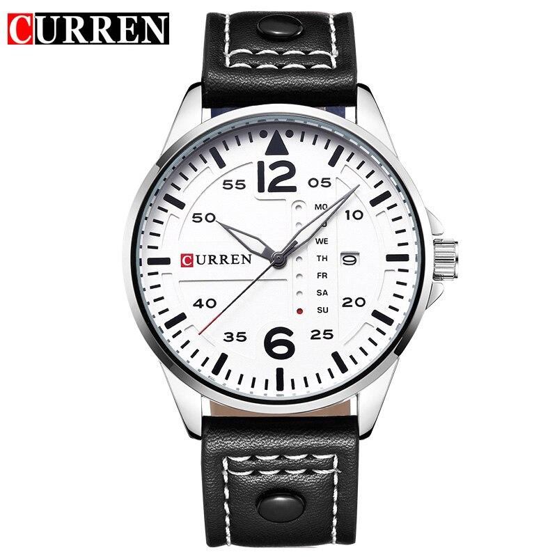 CURREN Watch Mens Fashion Business Watches Luxury Brand Leather Black Date Quartz Wrist Watch Men Clock Sport Relogio Masculino