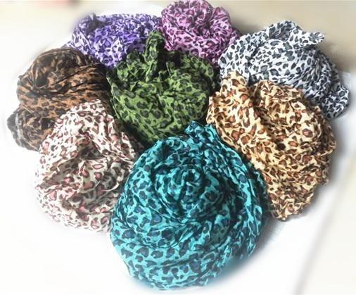 Factory Price Fashion Animal Print Shawl Leopard Grain Ladies Scarf Cotton Blends Women Scarves